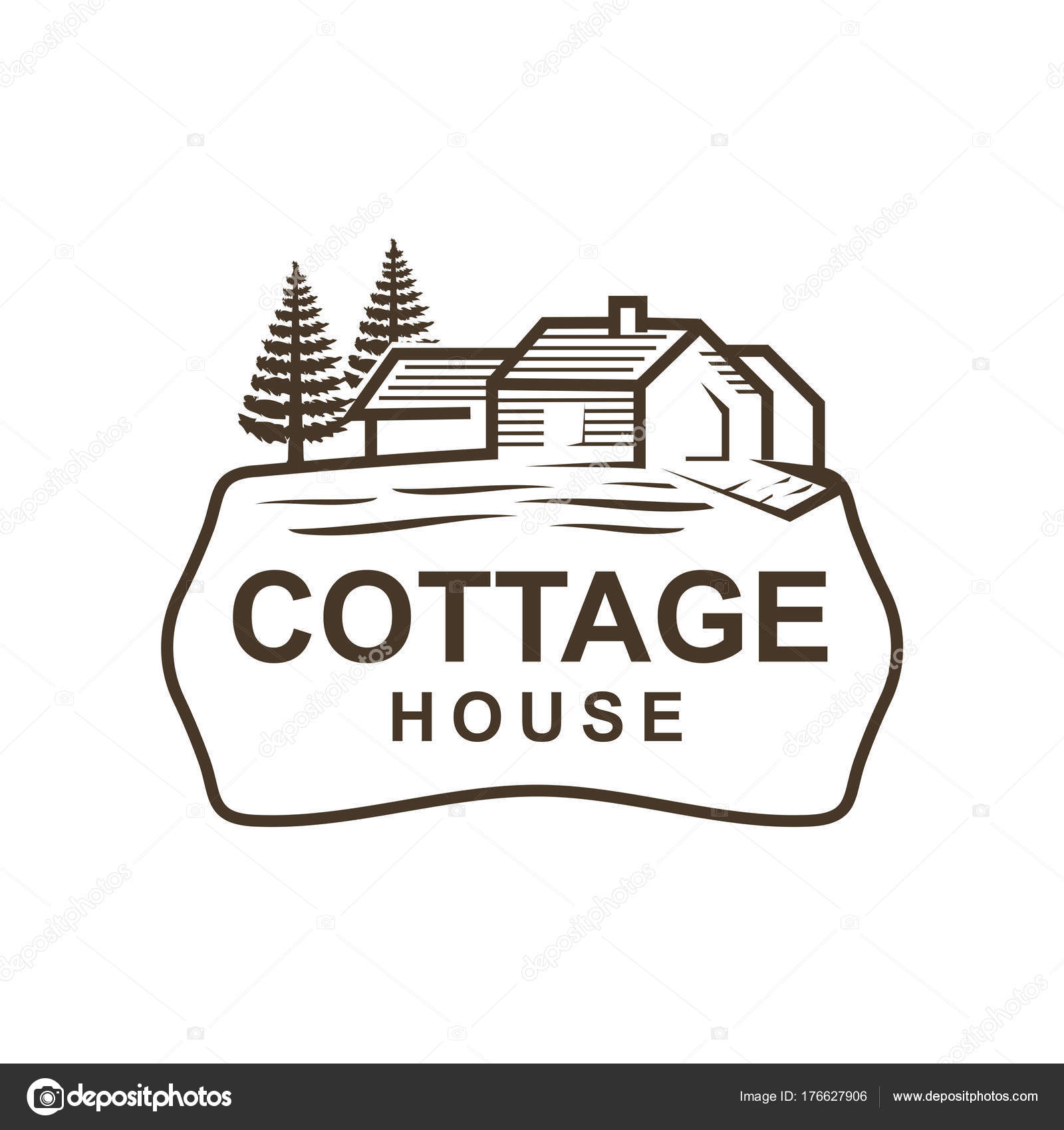 Vintage Cottage Pine Tree Logo Design Isolated White Background Stock Vector