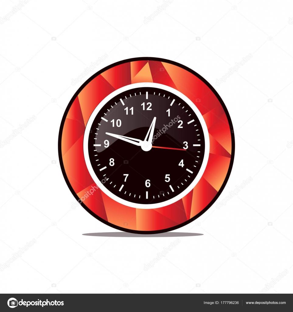 Reloj Pared Elegante Con Estilo Poligonal Diseño Icono Aislado Sobre ...