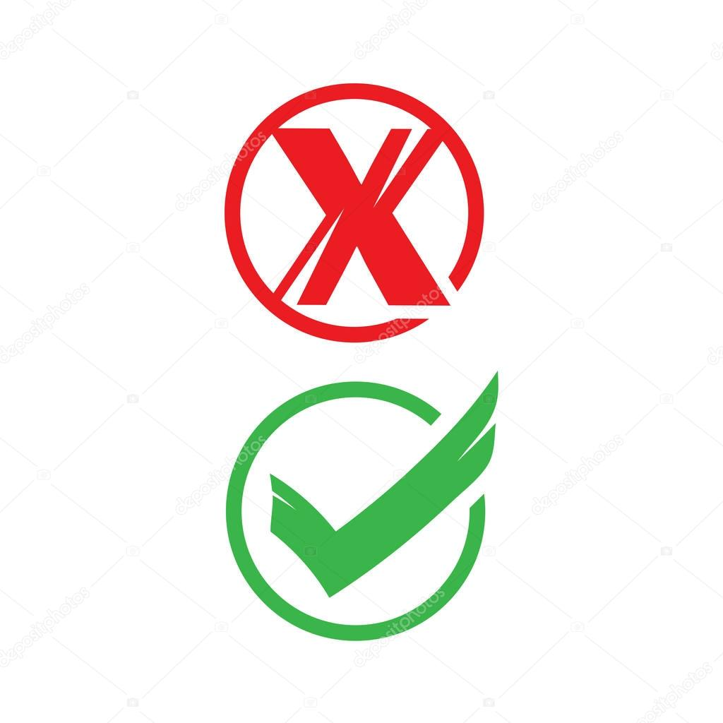 no and yes signs, icon design,  isolated on white background.