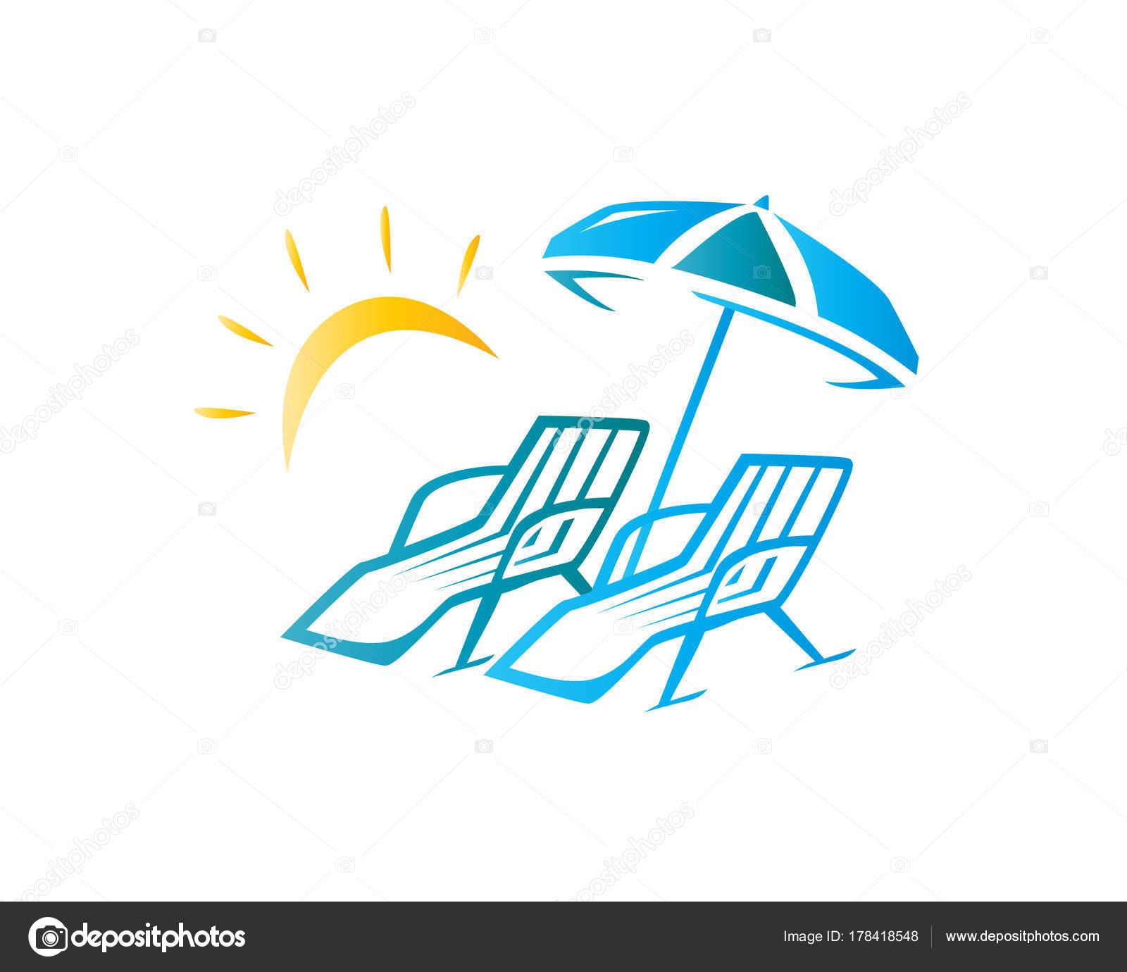 Disegno Ombrellone E Sdraio.Eleganti Sedie Spiaggia Ombrellone Illustrazione Disegno Simbolo