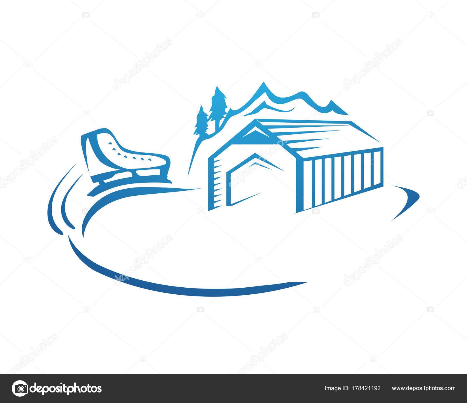 Patinaje Sobre Logo Pista Patinaje Con Contorno Choza Skate Montaña ...