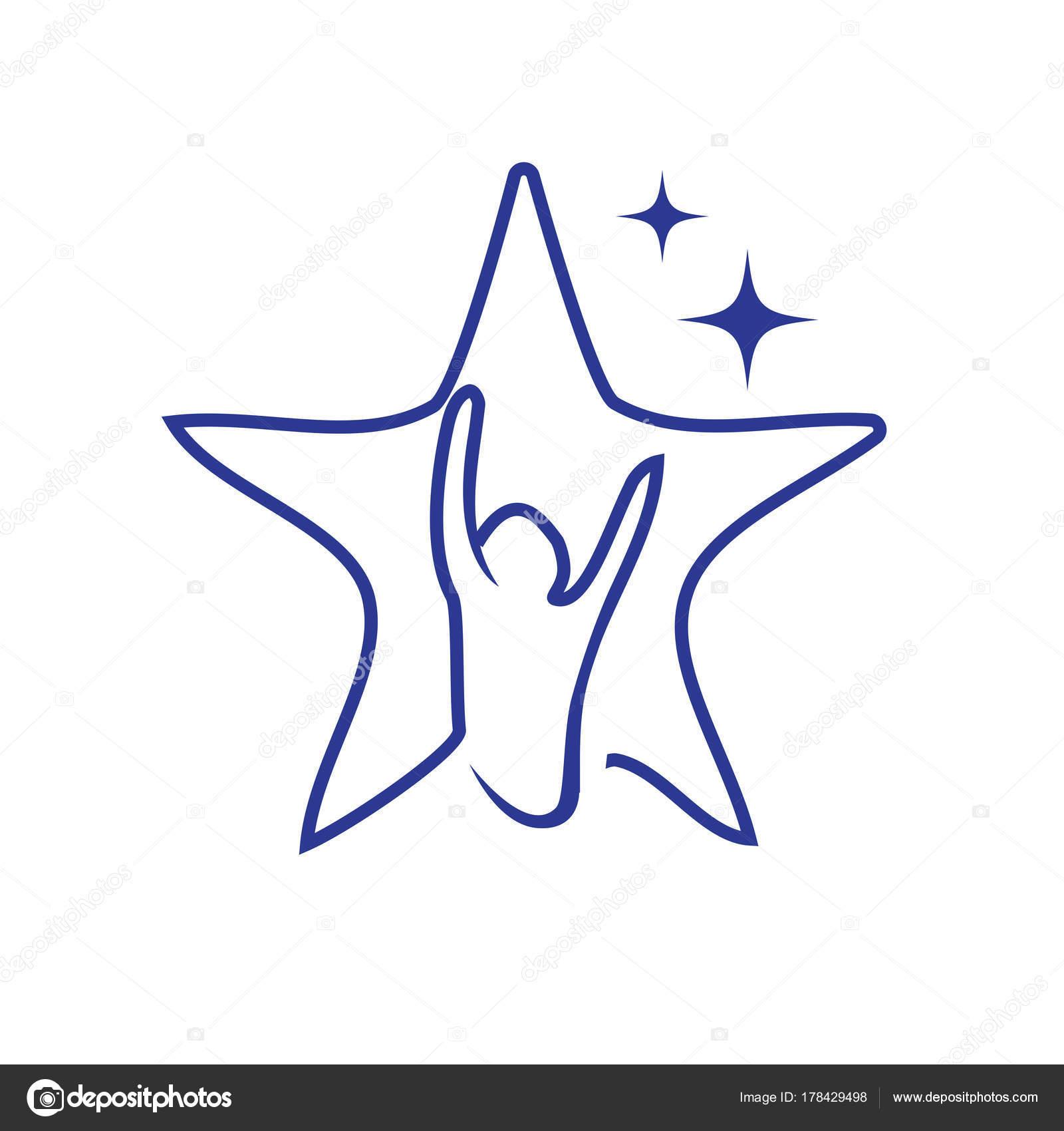 Goede Hoop Ster Symbool Persoon Werpt Zijn Handen Overzicht Van Ster QM-61
