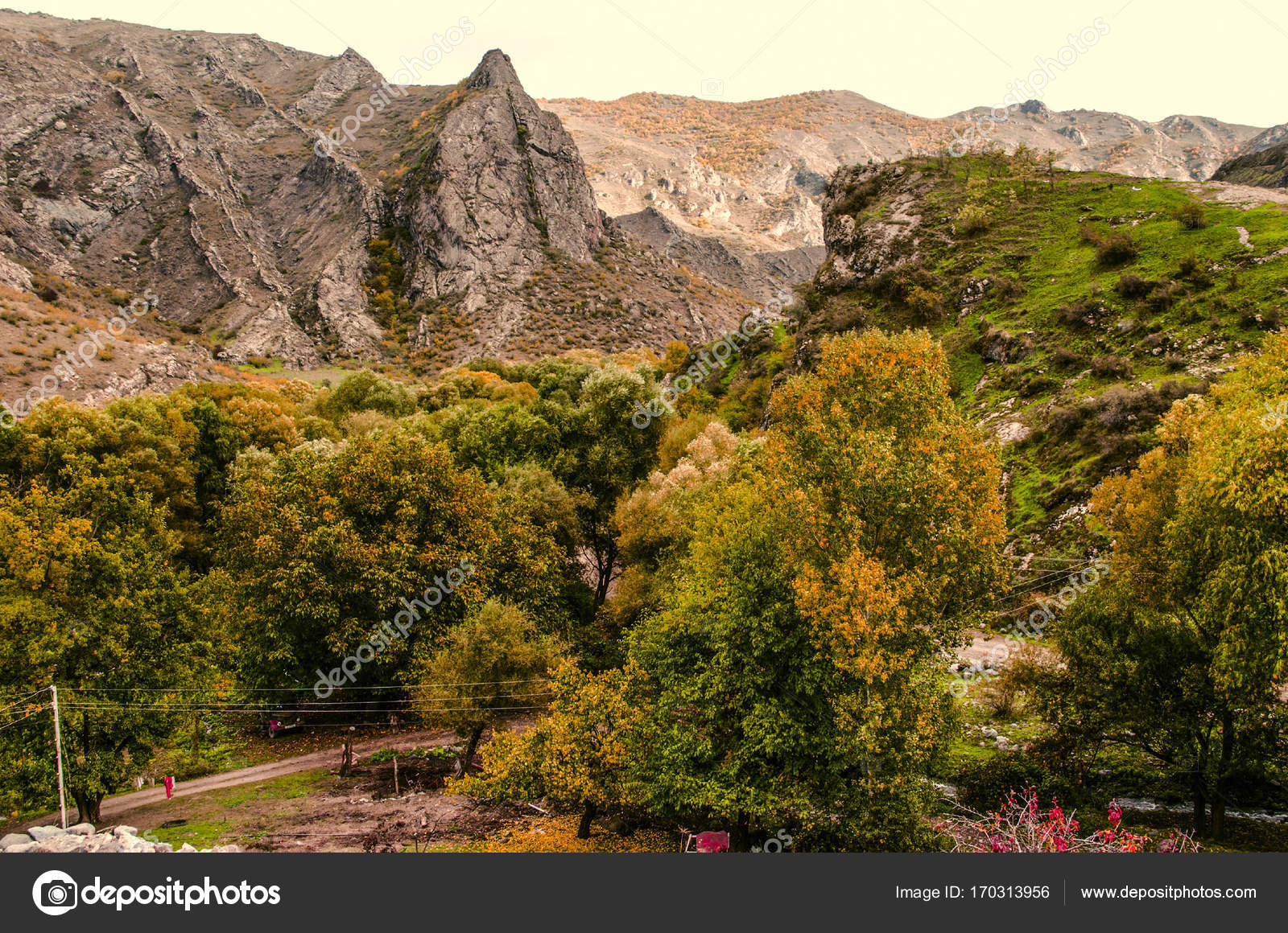 Autumn view of the the mountain village with yellowed walnut gardens ...