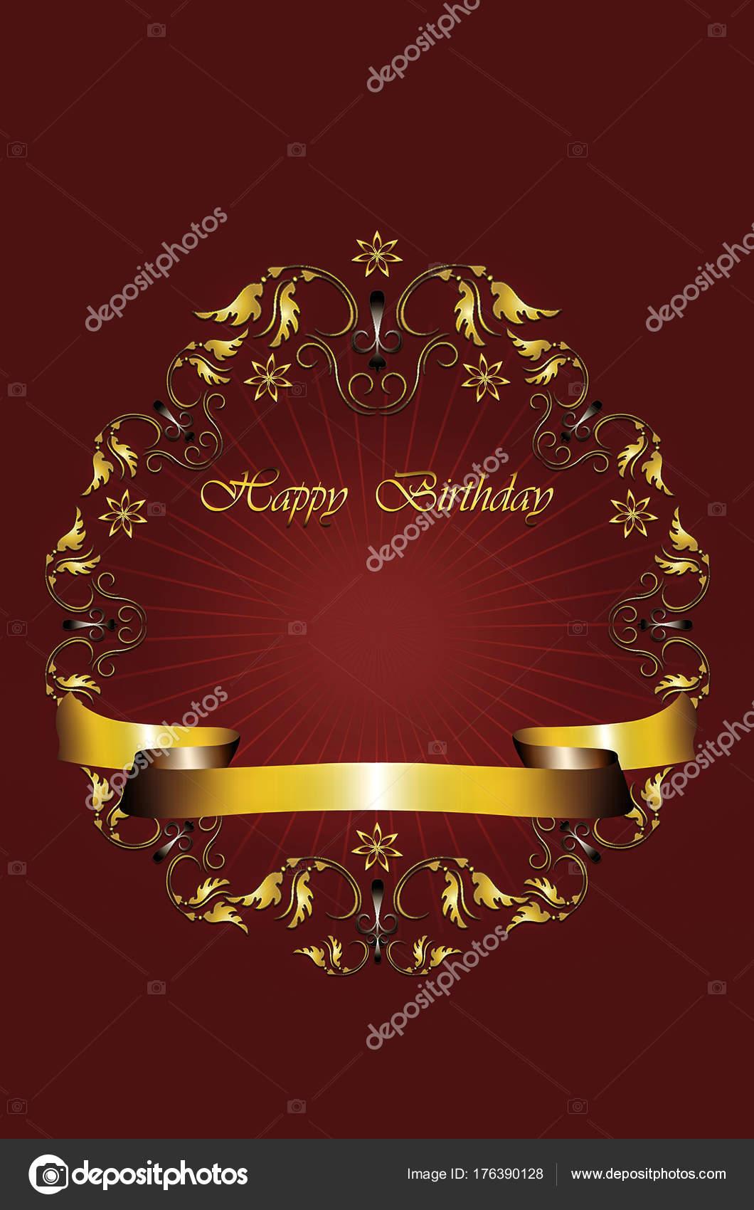 Marco de oro de las hojas con las estrellas y feliz cumpleaños sobre ...