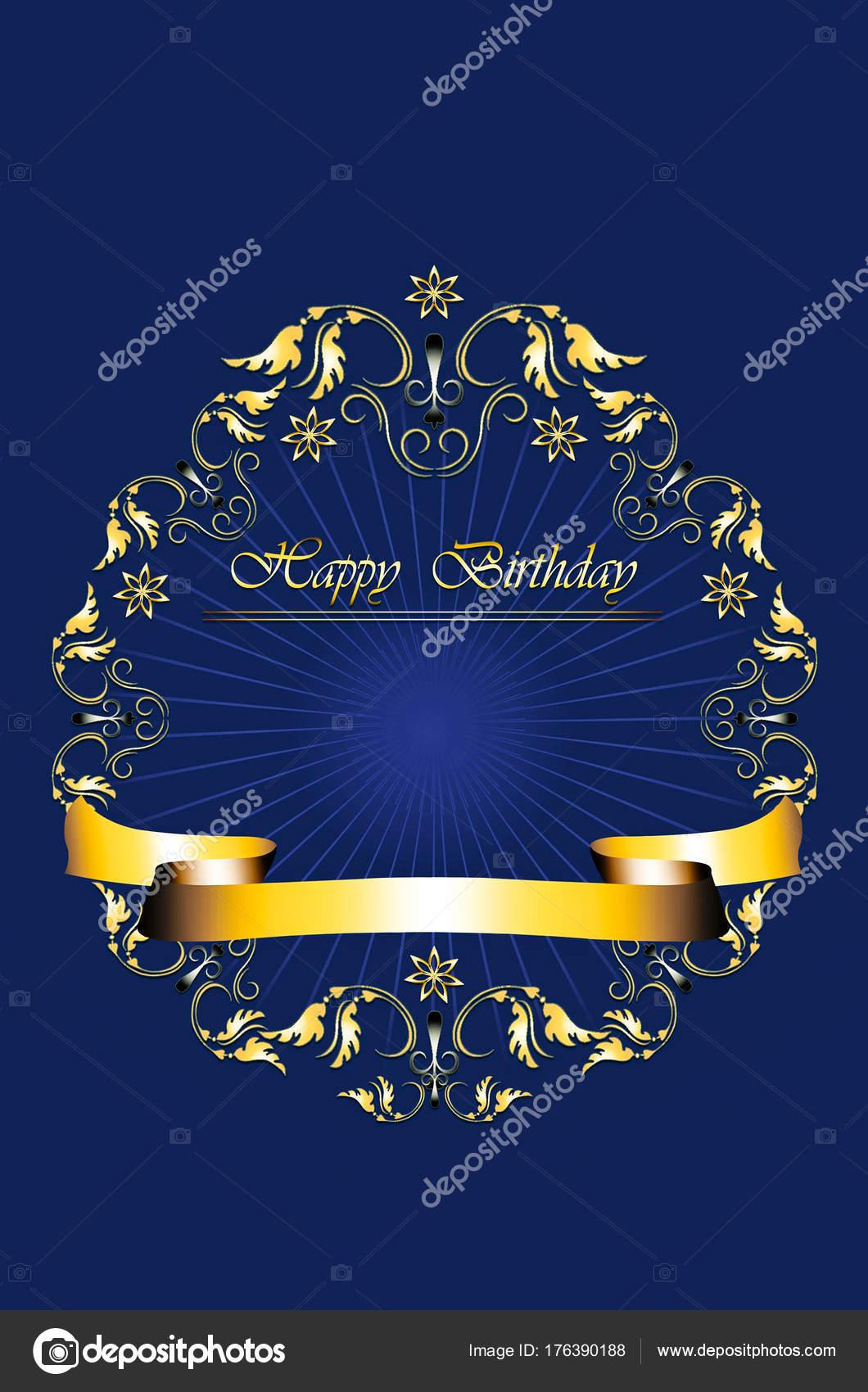 Marco de oro de las hojas con las estrellas y feliz cumpleaños en ...
