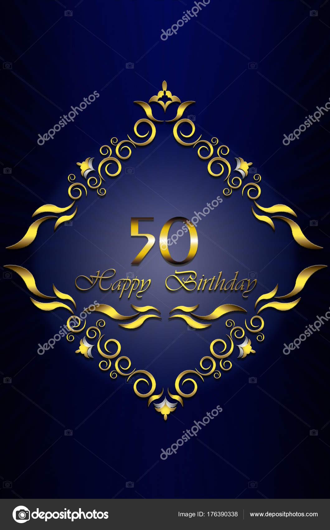 Marco de oro de las hojas con estrellas y feliz 50 cumpleaños en ...