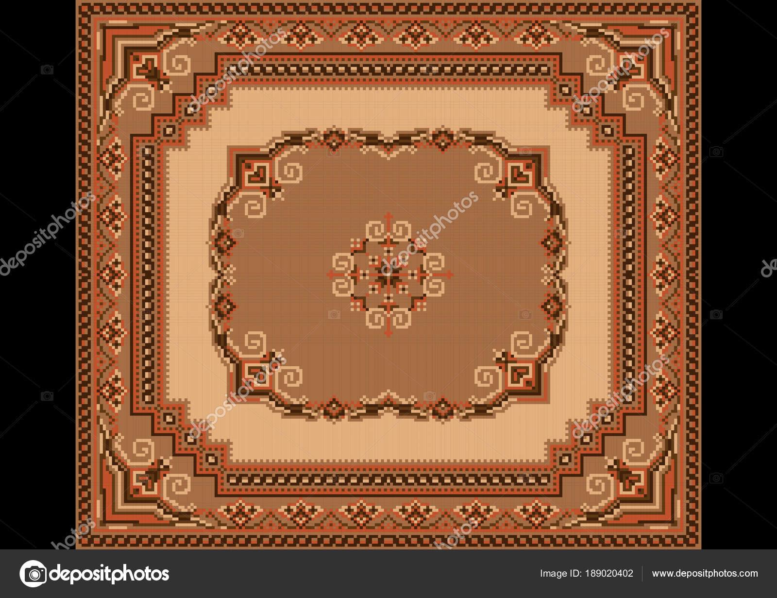 Teppich Mit Ethnischen Ornamente Auf Braun Und Gelb Hintergrund U2014  Stockvektor