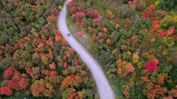 Letecký pohled na džíp na silnici vinutí přes Podzimní barvy