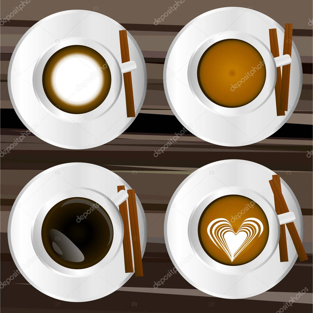 Vector illustration. Set of coffee