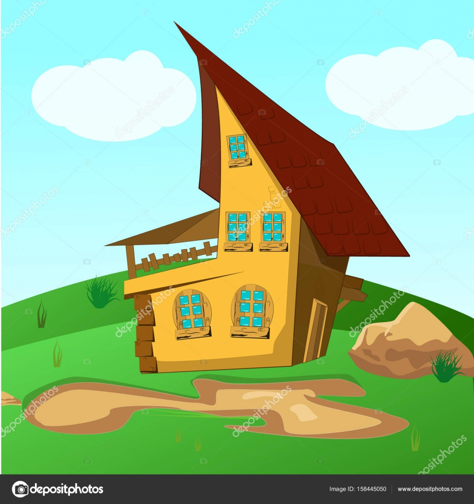 House Inside Green Fields Illustration Of A Cartoon House On A Top Of A Hill  In Spring Or Summer Season, Inside Rounded Green Landscape U2014 Vector By ...