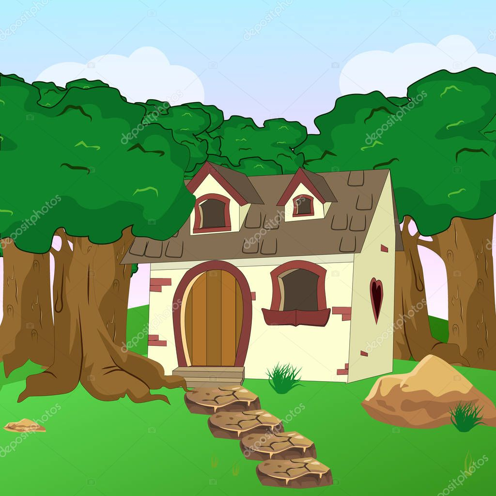Rural Cartoon Forest Cabin Landscape