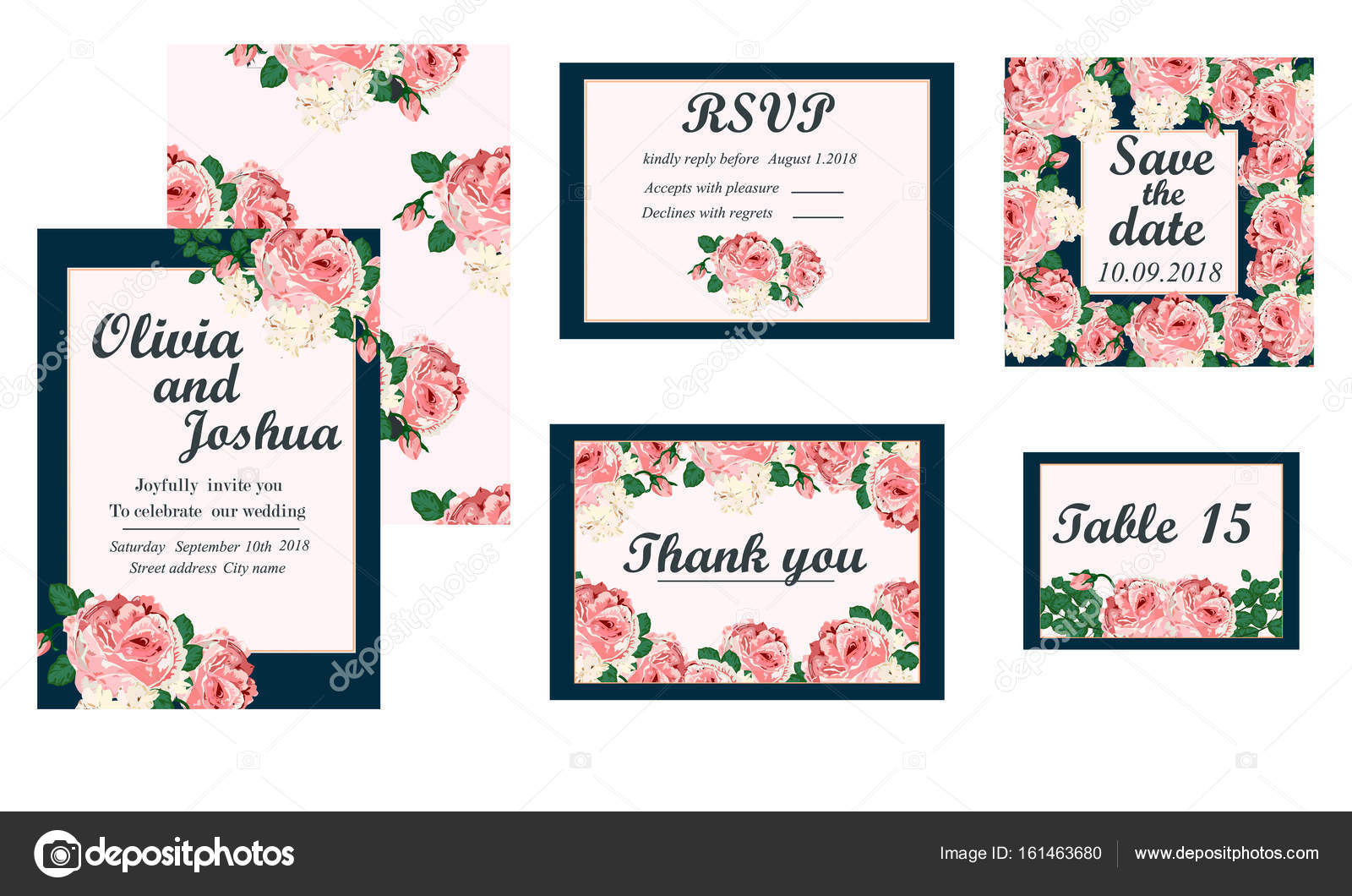 Wedding Invitation Card Suite With Daisy Flower Stock Vector