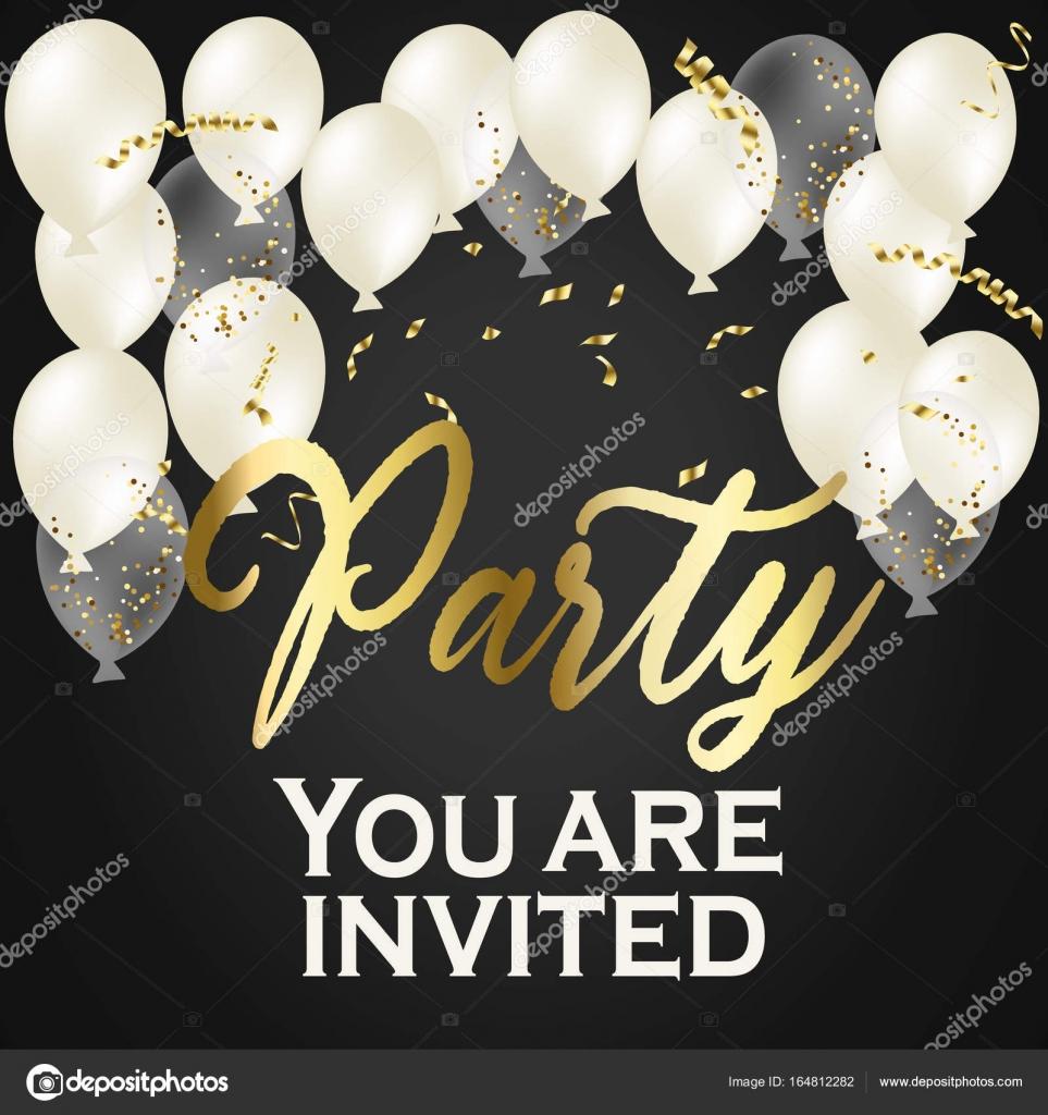 balloon party invitation happy birthday banner gold heart