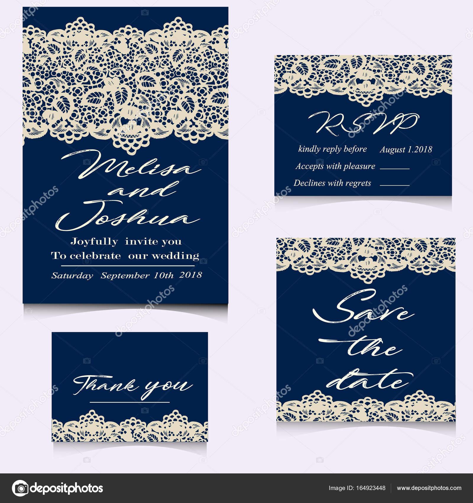 Plantillas de invitaciones de encaje para novia — Archivo Imágenes ...