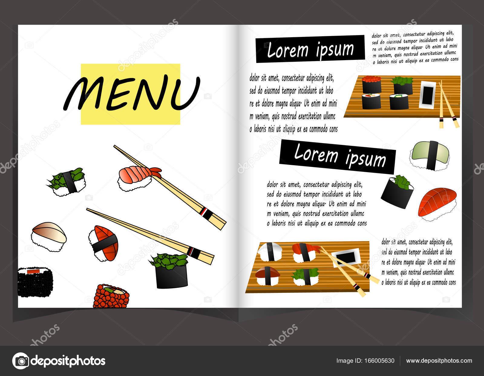 Japanische Küche-Restaurant-Menü-Vorlage — Stockvektor © annamaglyak ...
