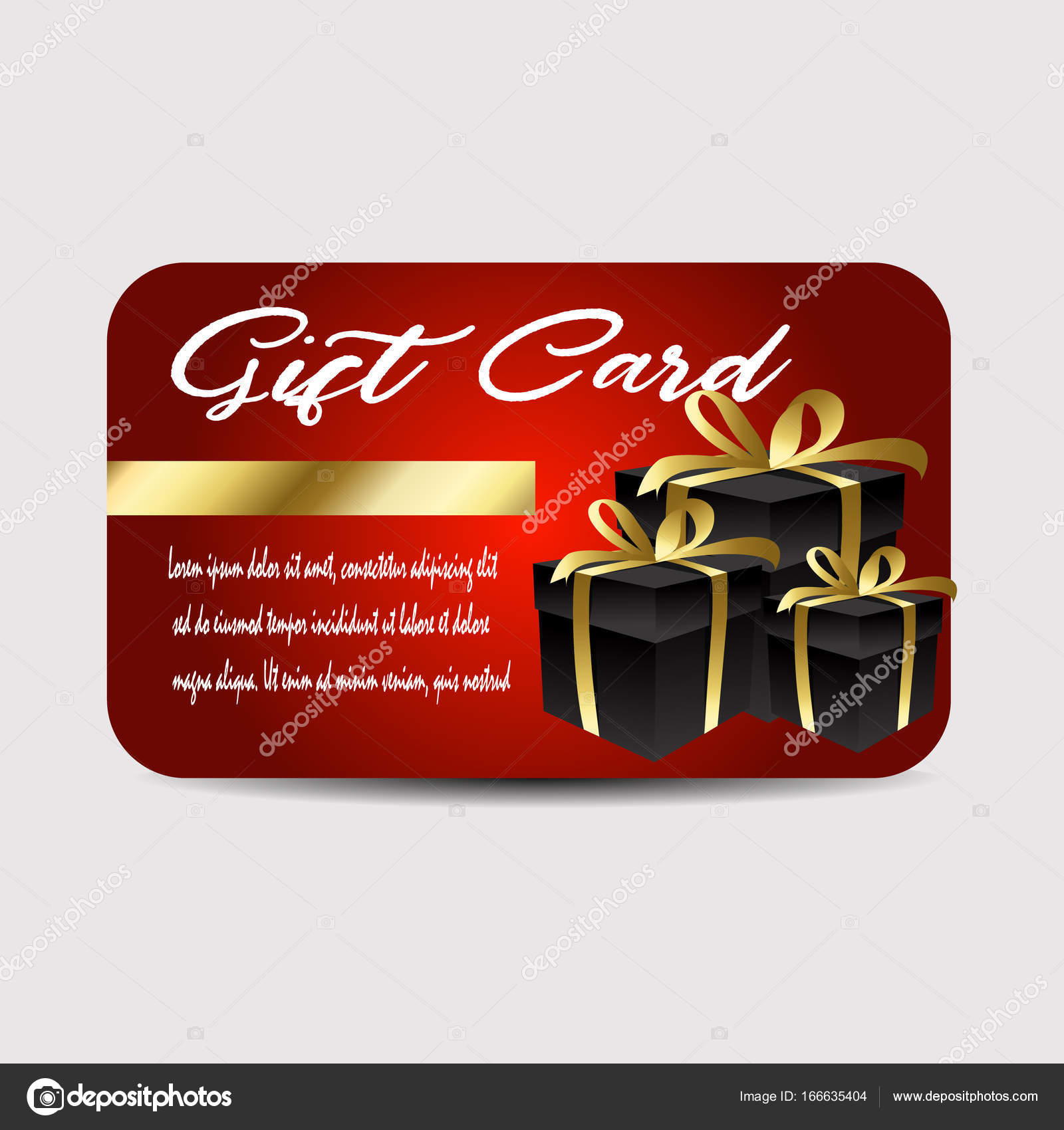 Card Template With Glitter And Present Boxes Stock Vector