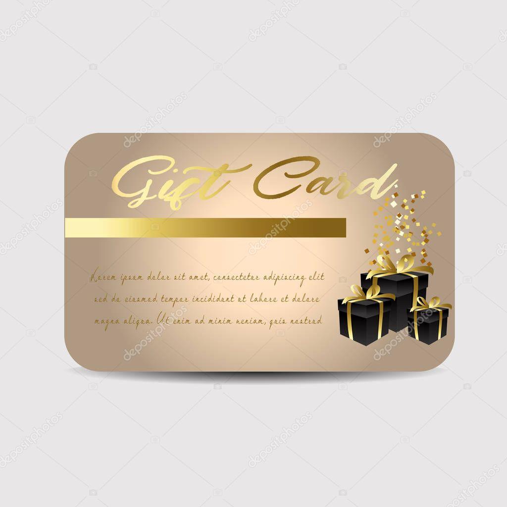 Kartenvorlage mit Glitzer und Geschenkkartons — Stockvektor ...