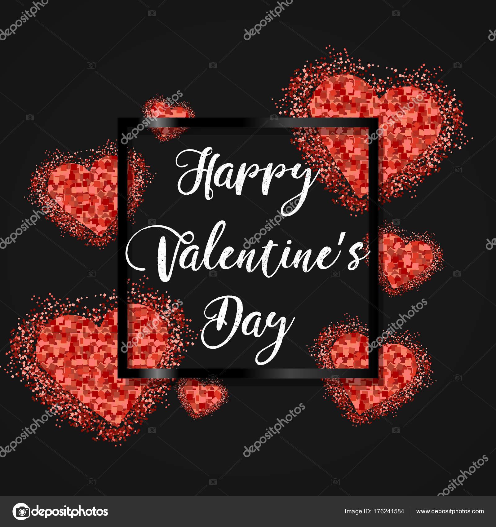 Happy Valentinstag festlich funkeln Layout-Template-Design. Glitzer ...