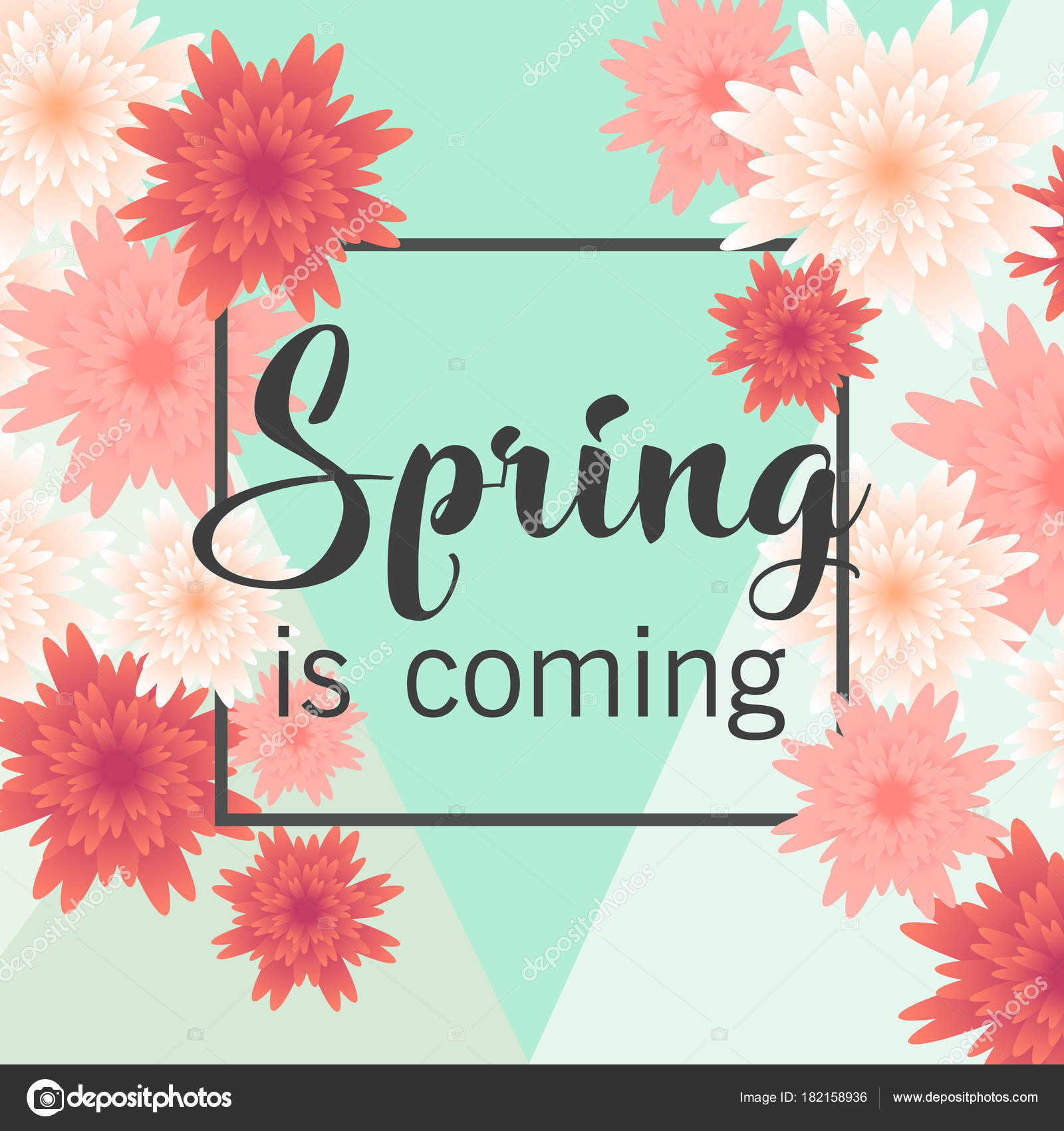 Hello Spring Floral Greeting Card Paper Flowers Banner With