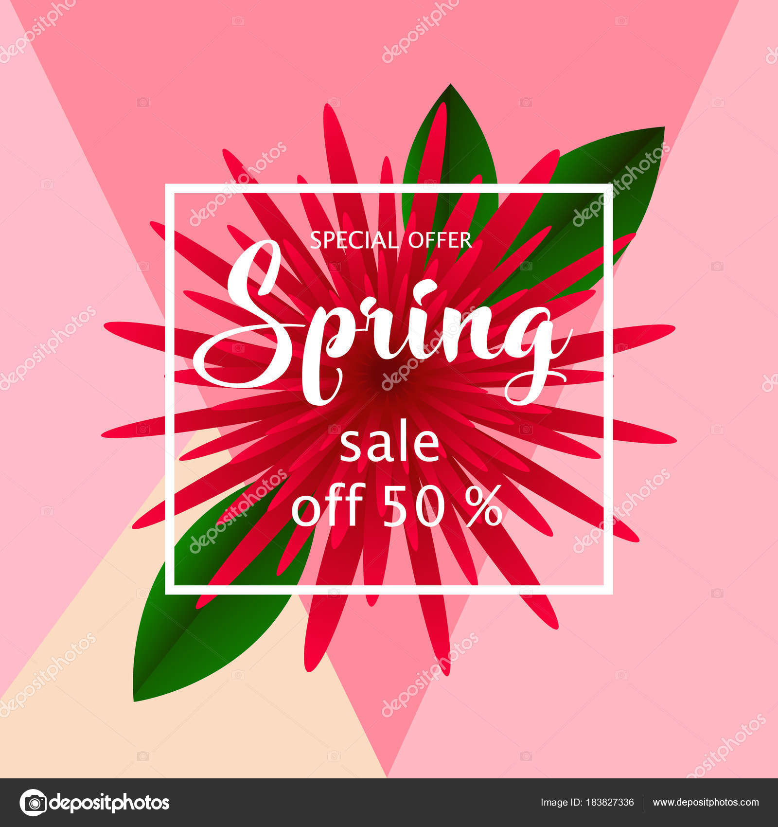 spring sale banner paper flower on colorful background stock vector
