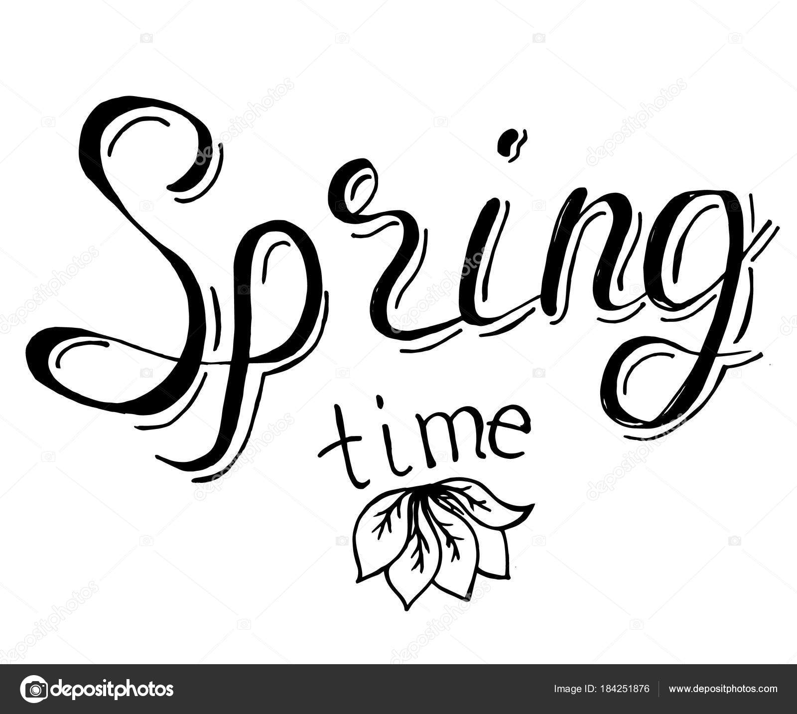 simple vector hand drawn retro lettering design element on spring