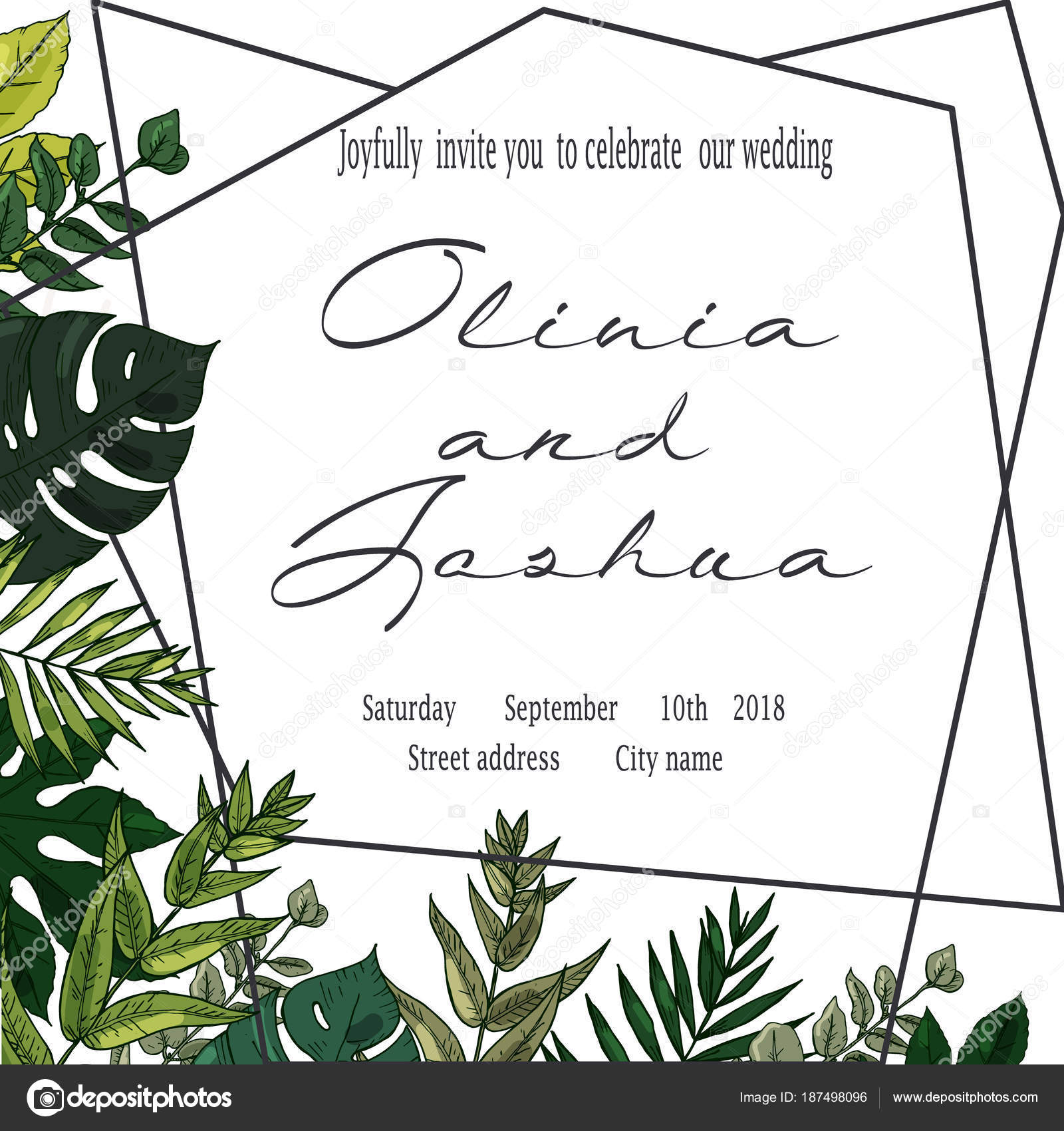 Vector wedding invite invitation save the date floral card design vector wedding invite invitation save the date floral card design green fern forest leaves stopboris Image collections