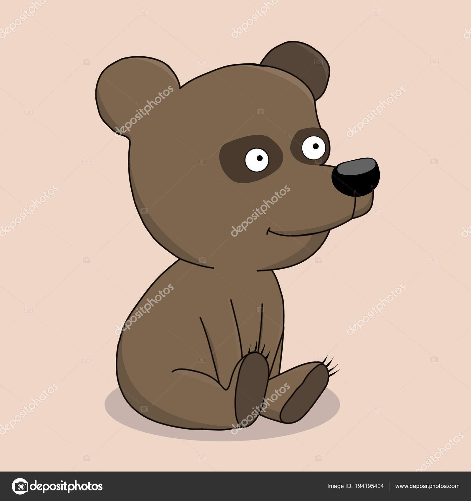 Cartone animato carino cucciolo di orso u vettoriali stock