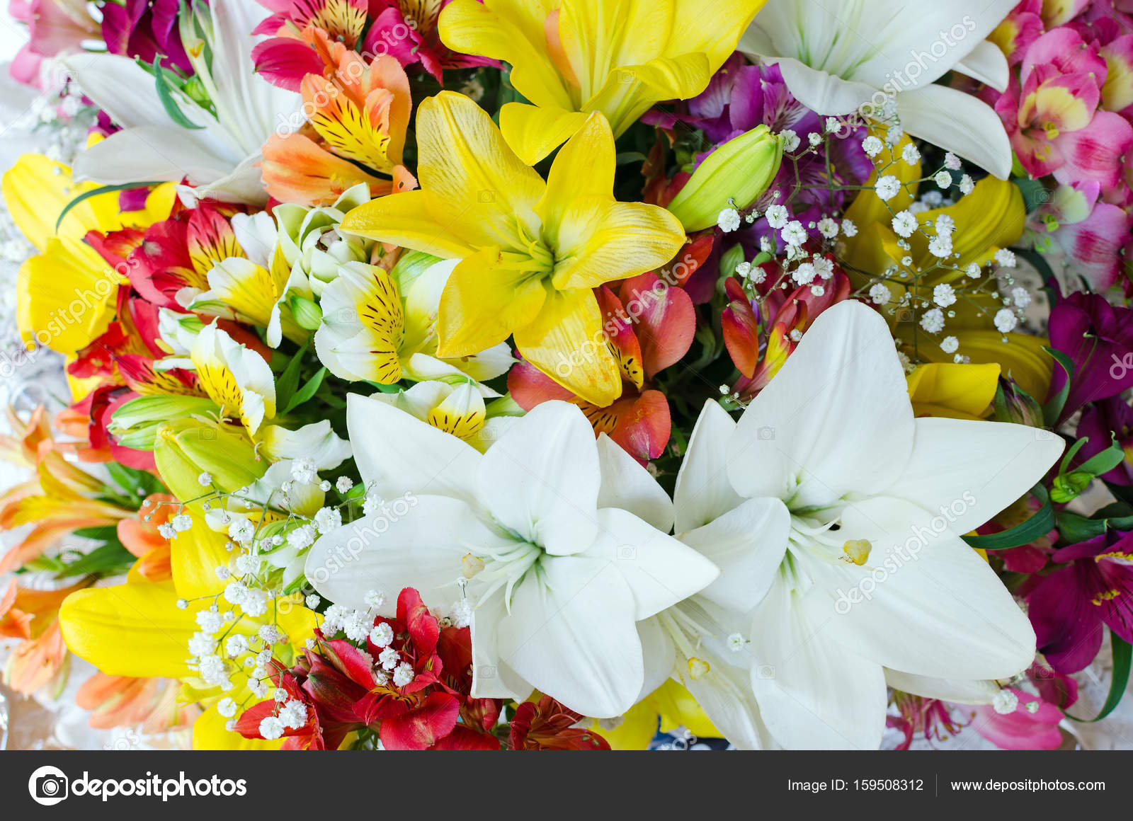 Large bouquet of different flowers. Floral background. Pattern of ...