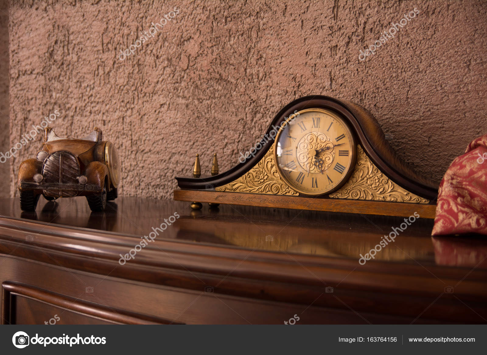 Antique Desk Clock And Auto On The Chest Of Drawers Near Wall In Brown Tones Photo By Kanzefar