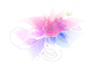 Fantasy Watercolor vector background with colorful flower. Abstract floral elements . clip art vector
