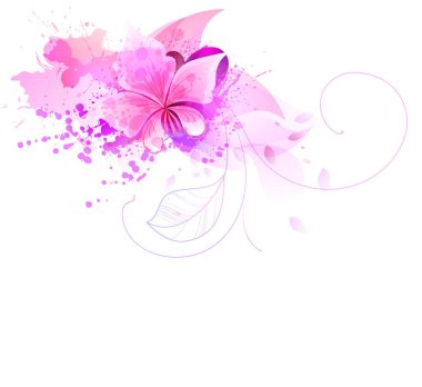 Watercolor background with colorful flowers.