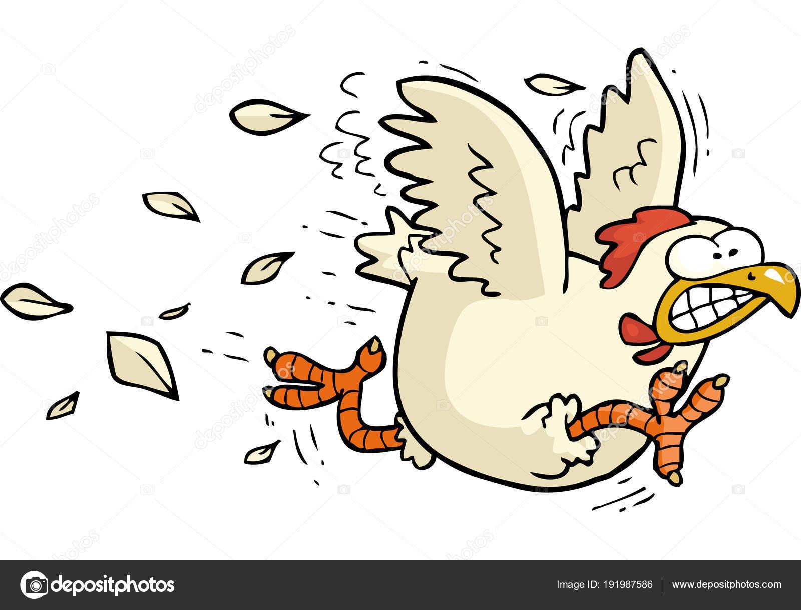 Funcionamiento del pollo de la historieta — Vector de stock ...