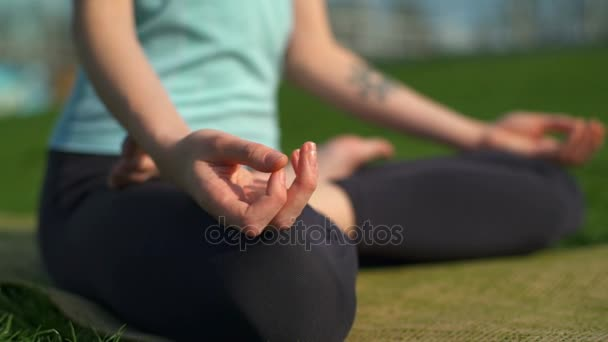 Mladá štíhlá žena sedící na mat v lotosu představují a meditovat Zavřít se zpomaleně