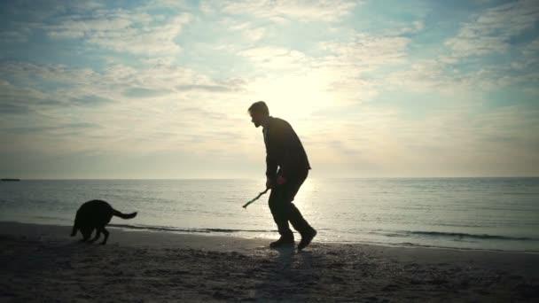 Mladý muž si hraje s jeho štěně psa na moři Zpomalený pohyb