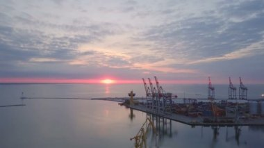 Beautiful panoramic view of the sea port in Odessa slow motion