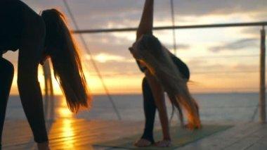 Silhouette group women trikonasana asanas yoga class sea beach dawn slow motion