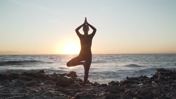 Flexibilní kavkazská dívka dělá strom jóga asana na pobřeží při západu slunce