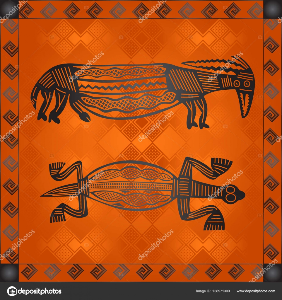 African Culture Symbolic Ornaments African Tribes Hand Drawn