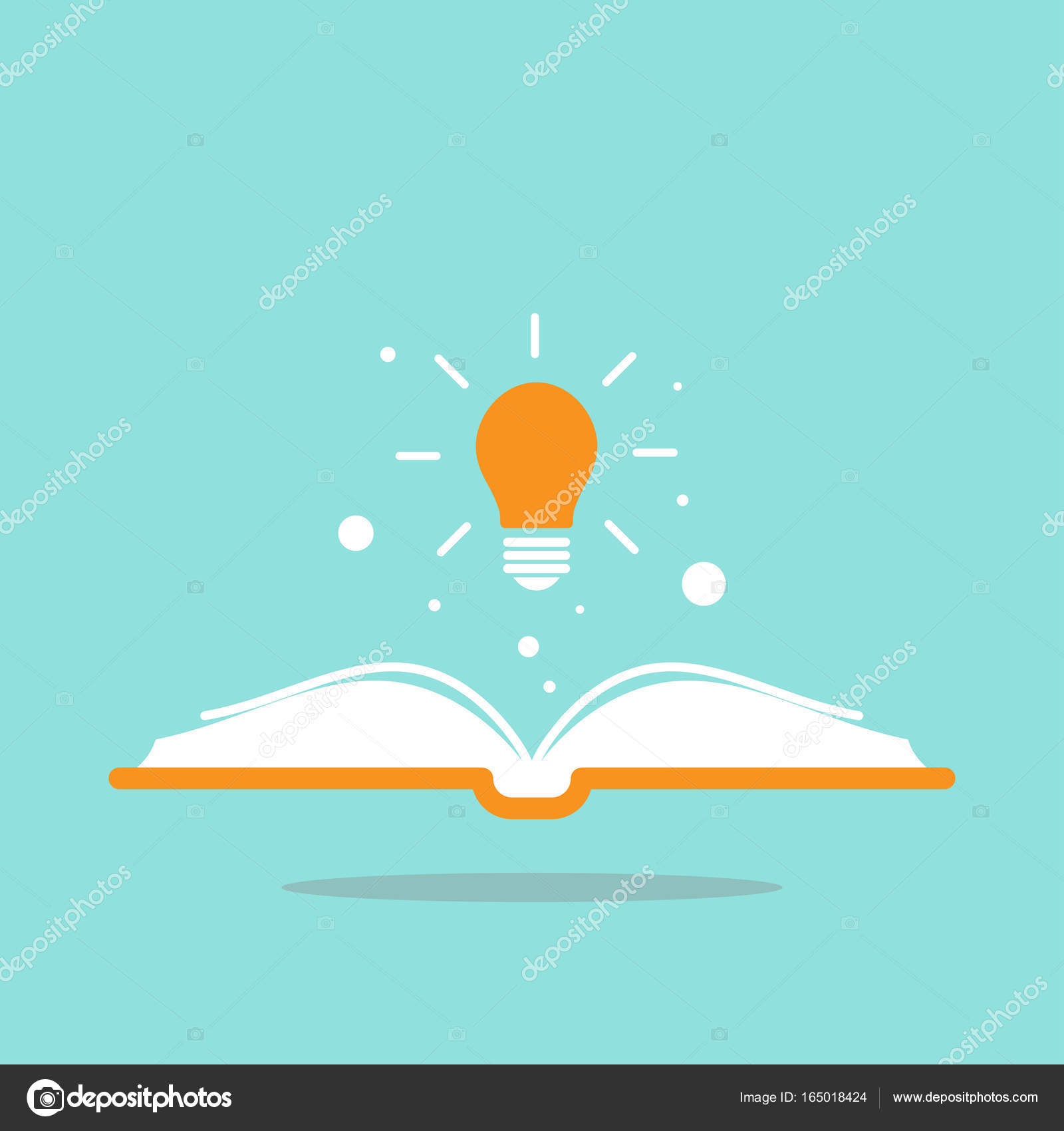 Open book with shining bulb flying out. Flat icon isolated on powder ...