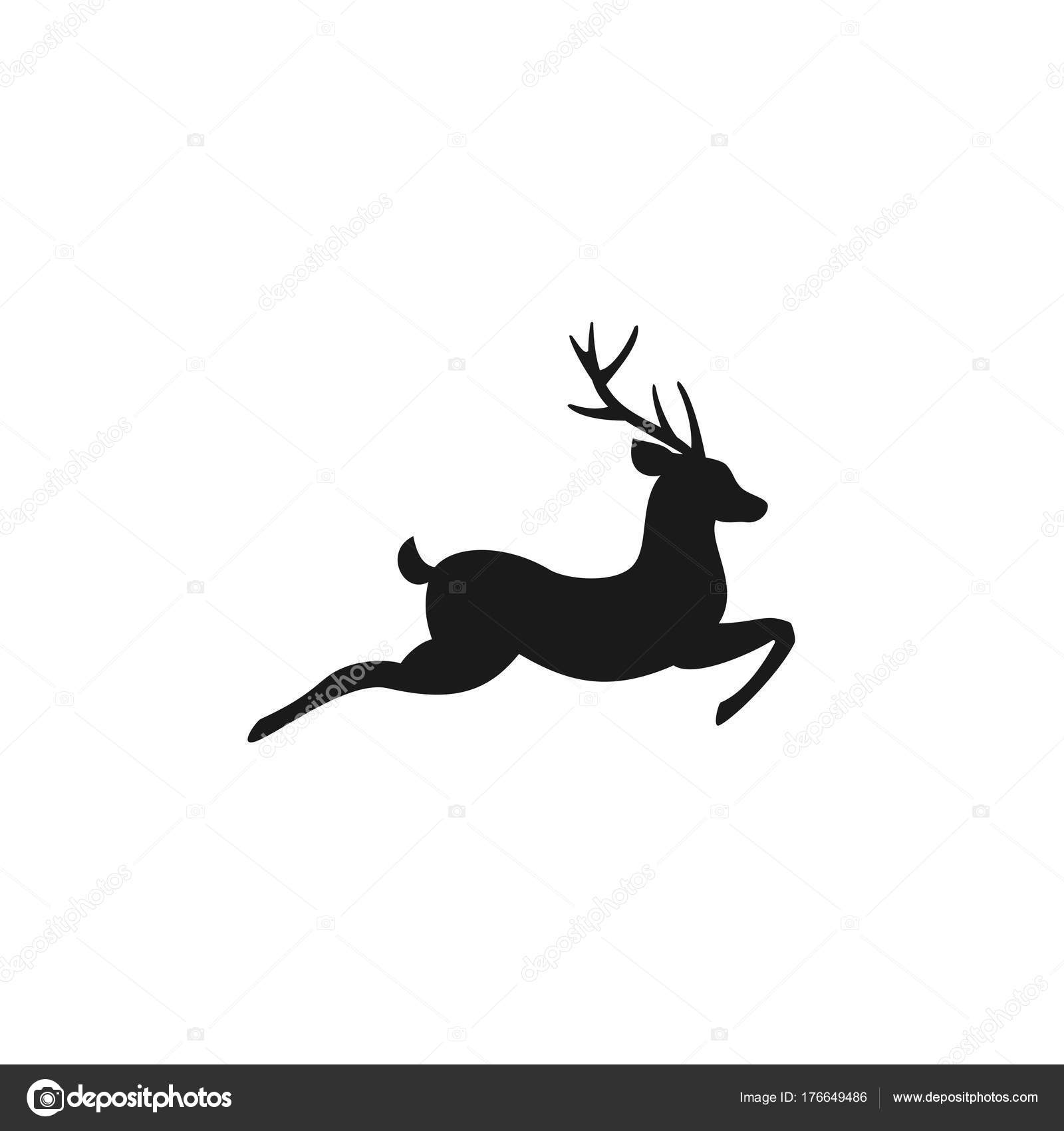 O Deer Black silhouette of graceful deer in jump with great antlers. vector flat  icon isolated on white background u2014 Vector by ...