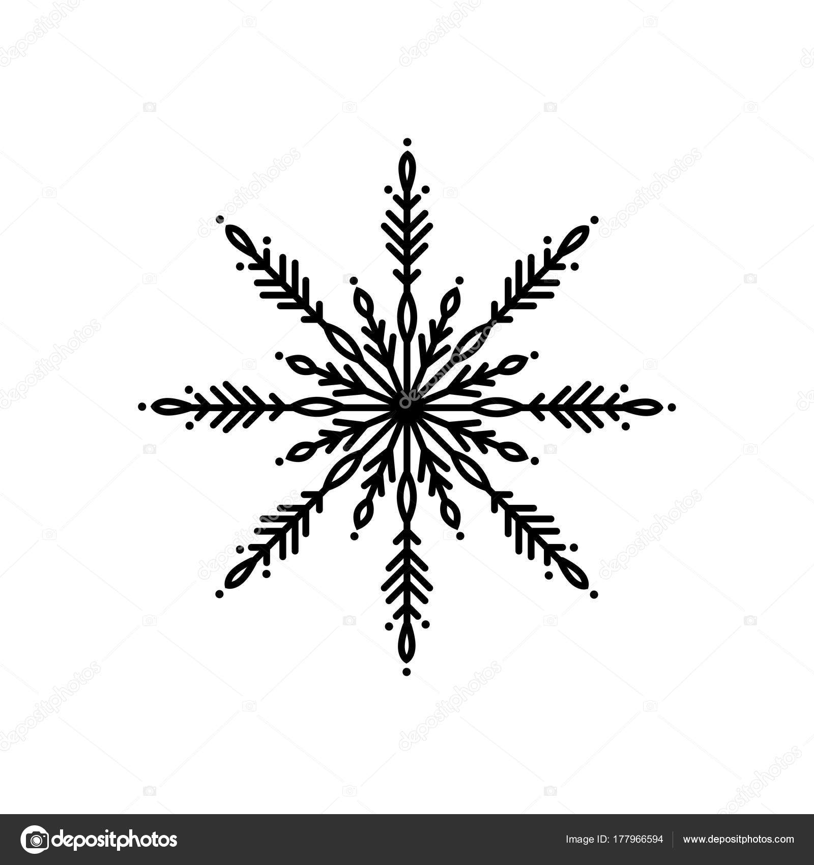 black flat outline snowflake icon isolated on white new year pictogram vector illustration christmas clip art web button christmas label winter sign