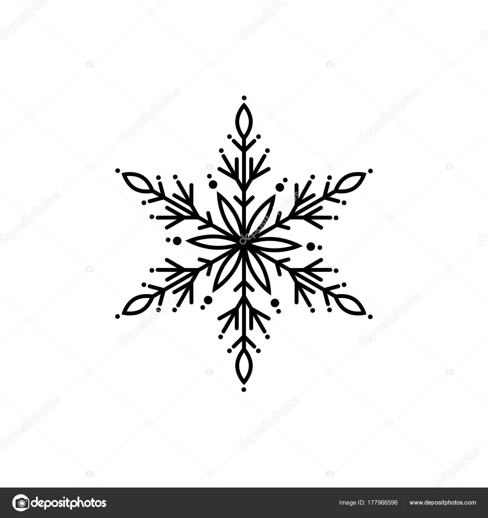 schwarze flache bersicht schneeflocke symbol isoliert auf. Black Bedroom Furniture Sets. Home Design Ideas