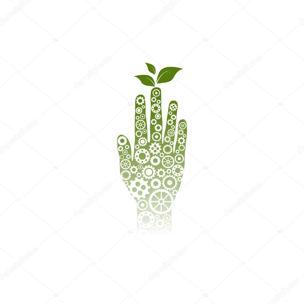 Green Human hand made of little white gears and wheels.