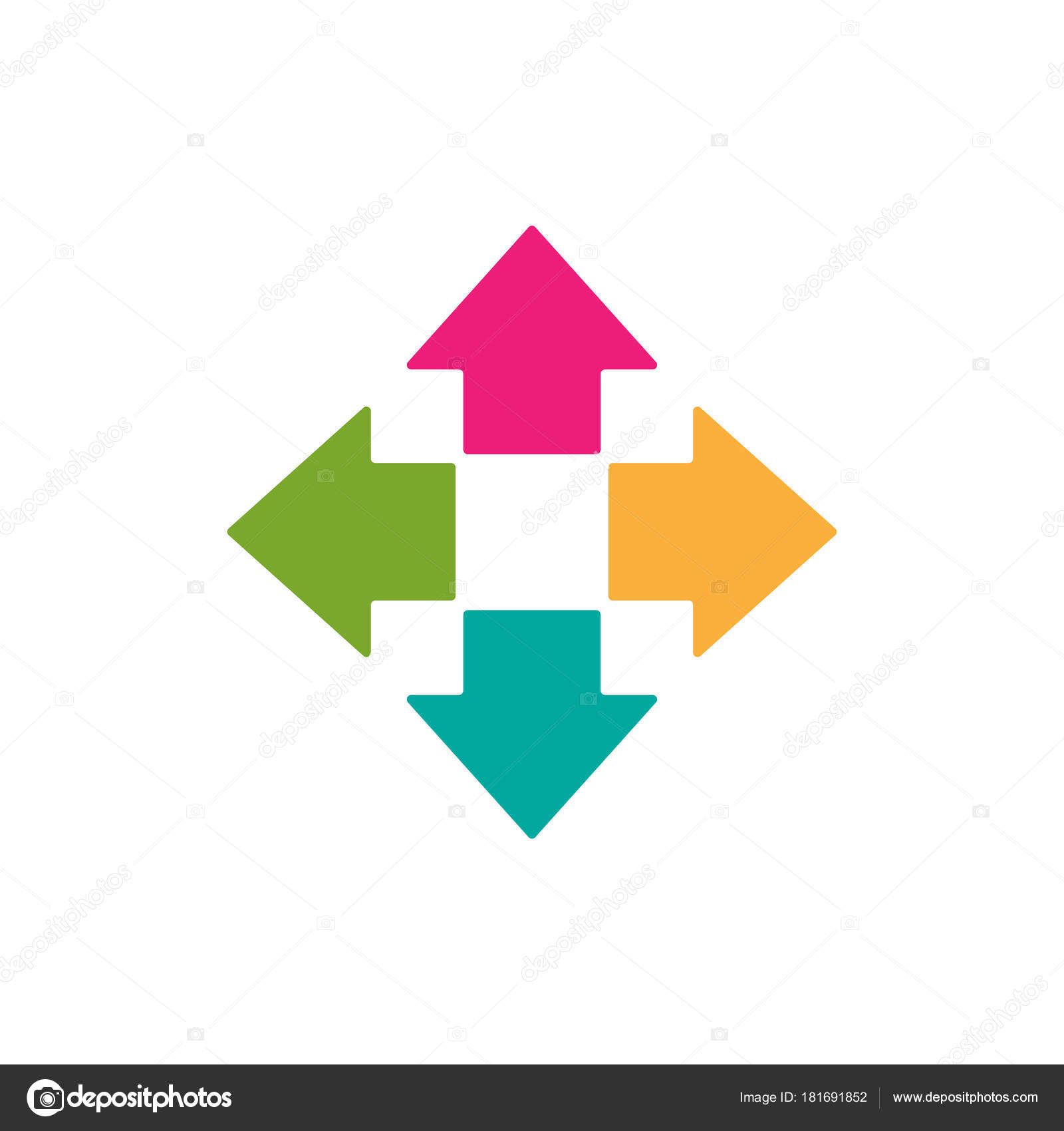 Four colorful arrows point out from the center  Expand