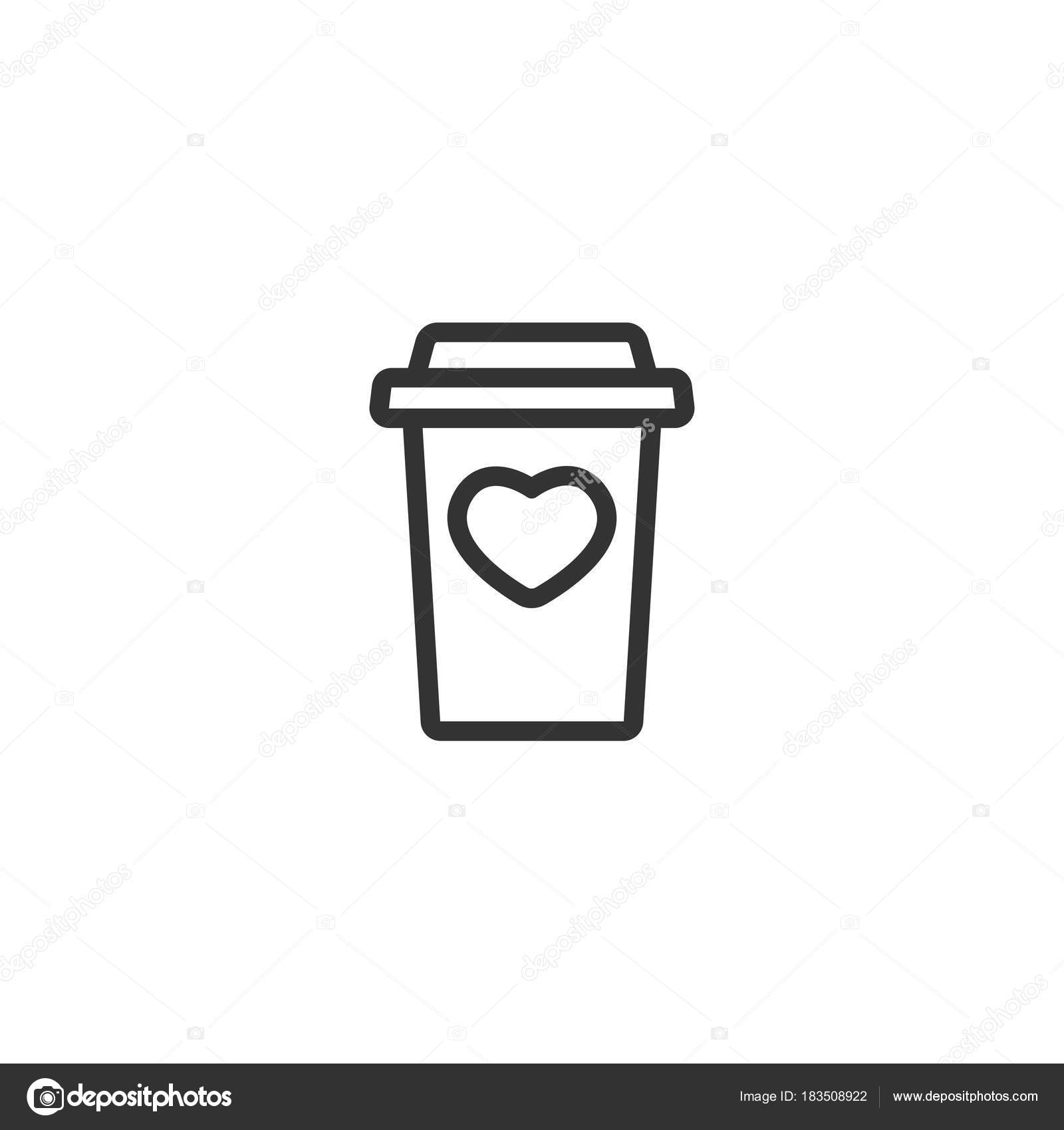 Take Out Coffee With Cap And Heart Disposable Cardboard Cup Of Paper Container Icon Isolated On White Background Vector Outline Illustration