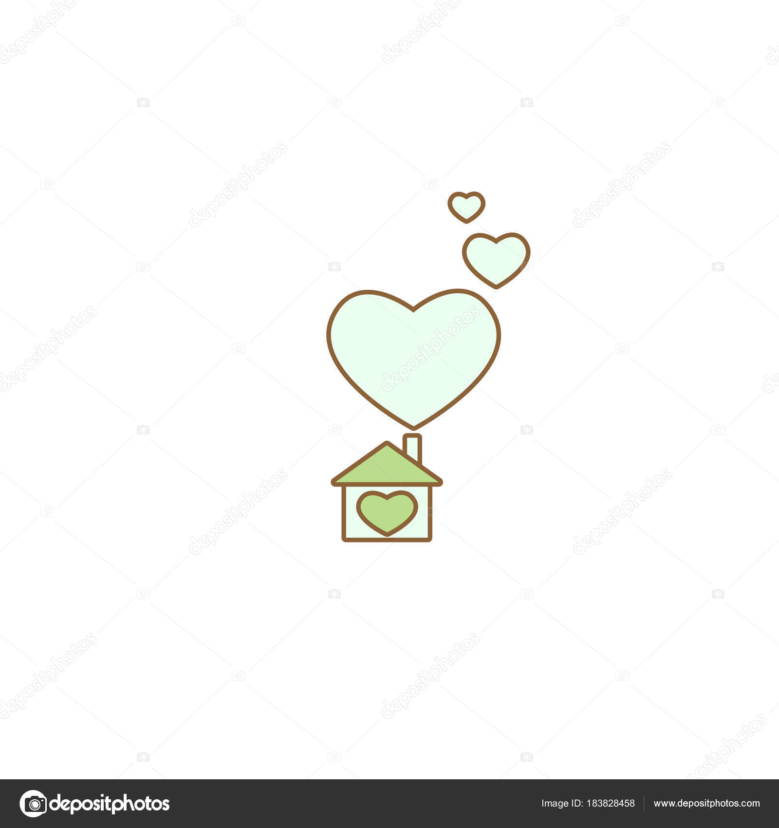 Flat blue home with heart simple silhouette of house with green flat blue home with heart simple silhouette of house with green roof and big hearts under chimney icon isolated on white vector sweet home symbol buycottarizona Image collections