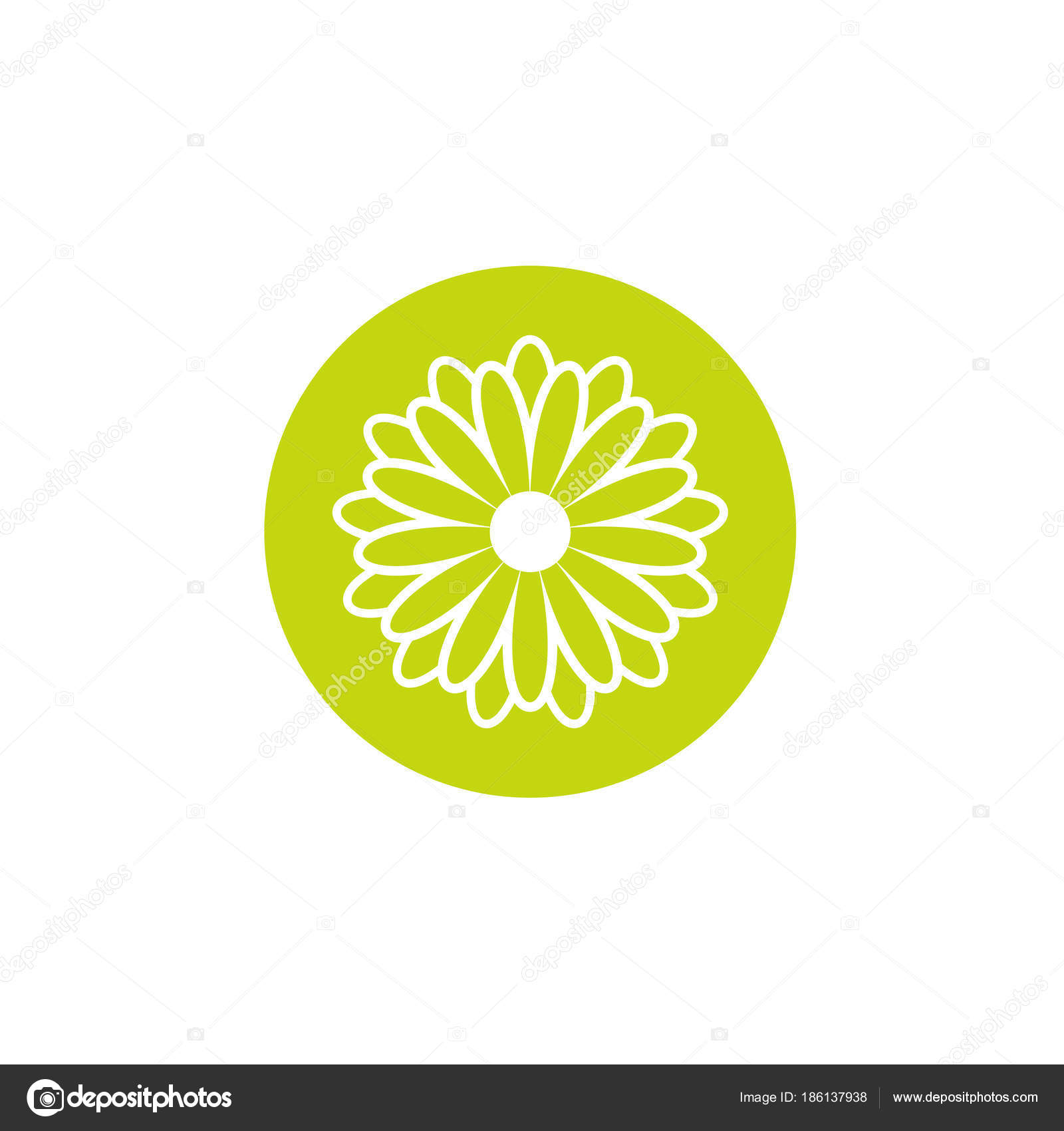 Green Flat Icon Of Chrysanthemum Flower With White Outline In Green
