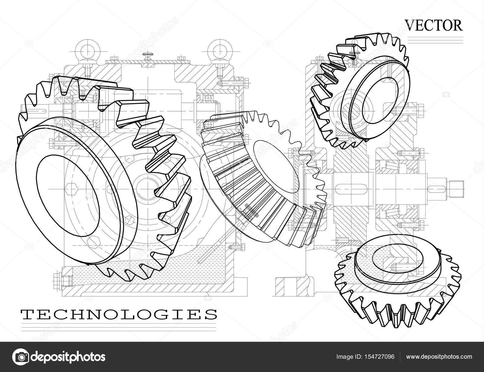 Edificio de la máquina de dibujos sobre un fondo blanco, ruedas ...