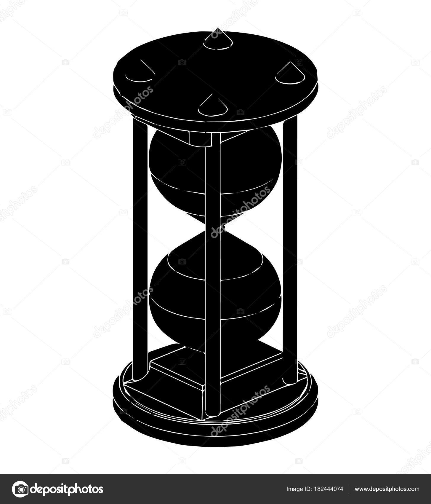 Reloj De Arena En Blanco Negro Archivo Imágenes Vectoriales