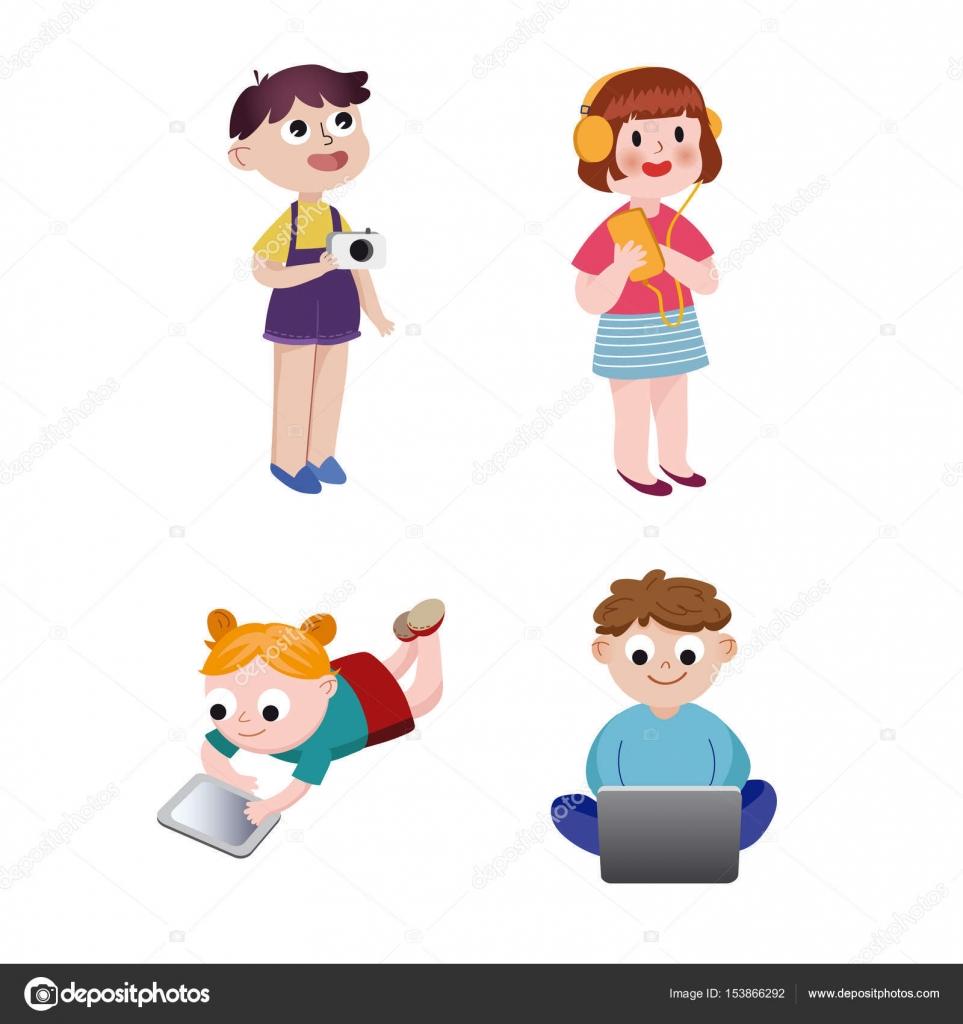 e1b087aa6cccbb Kinderen kijken, luisteren, fotograferen en spelen met elektronische  apparaten, collorful vector illustraties —